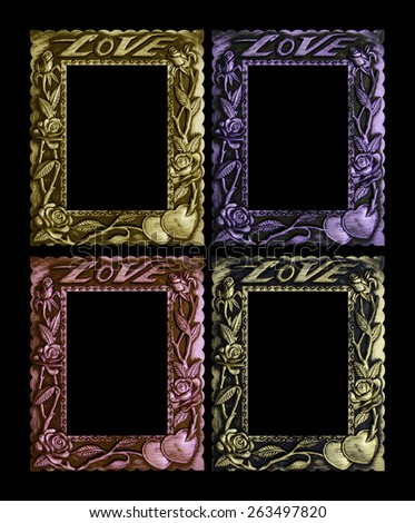 Colorful antique frame isolated on a black background. - stock photo