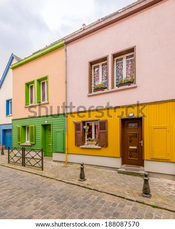 Colorful apartment building in Amiens, France. - stock photo