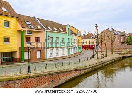 Colorful apartment building in Amiens, Paris, France. - stock photo