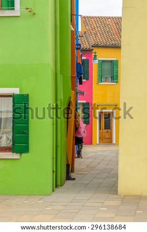Colorful apartment building in Burano, Venice, Italy. - stock photo