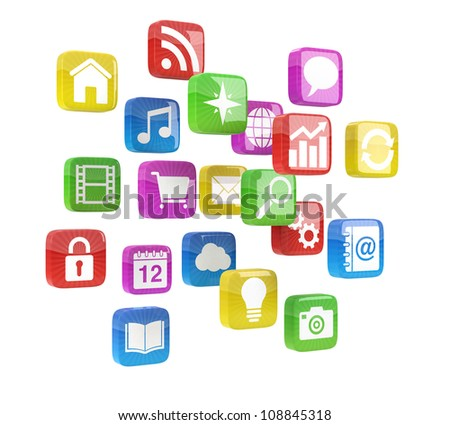 colorful app icons - high quality 3d illustration - stock photo