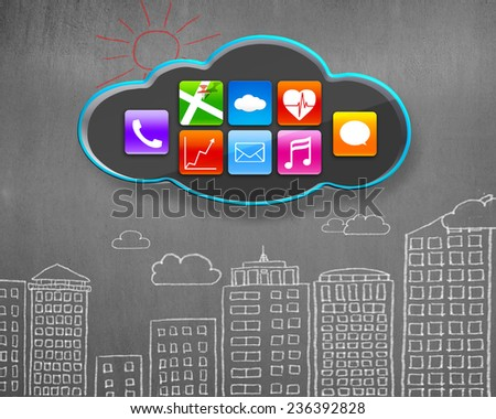 colorful app icons on black cloud with buildings doodles concrete wall background - stock photo