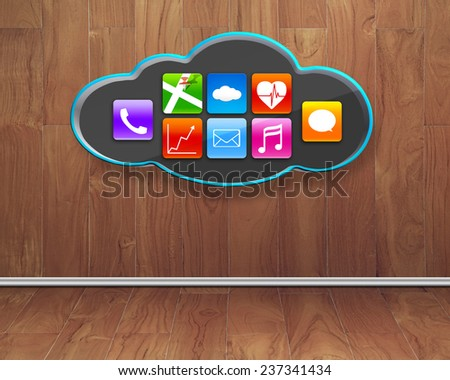 colorful app icons on black cloud with wooden wall and floor interior background - stock photo