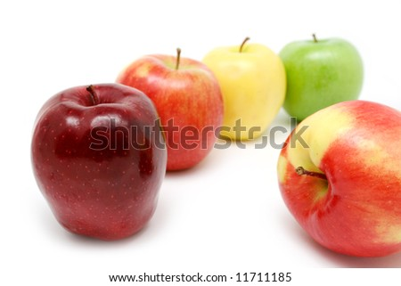 Colorful apple composition on white