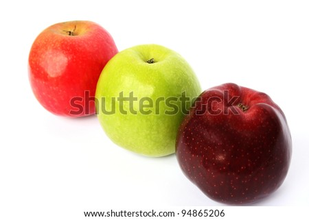 Colorful apples isolated on white background.