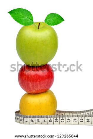 colorful apples with measuring tape isolated on white