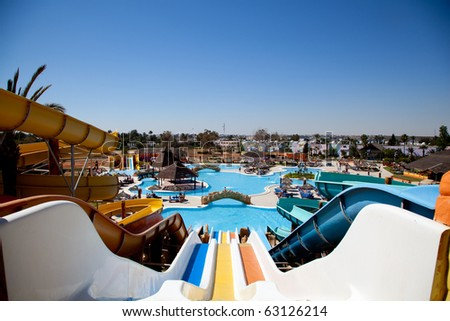 Colorful aquapark and a pool - stock photo