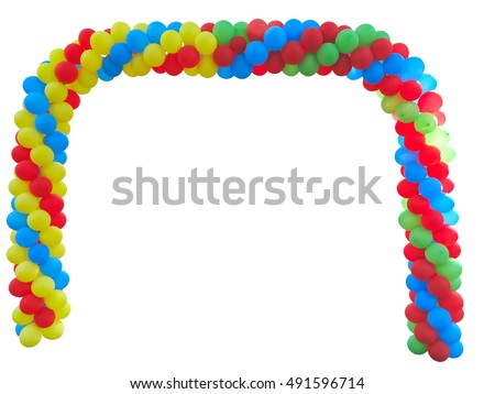 Colorful arch of red blue yellow green balloons isolated over white background