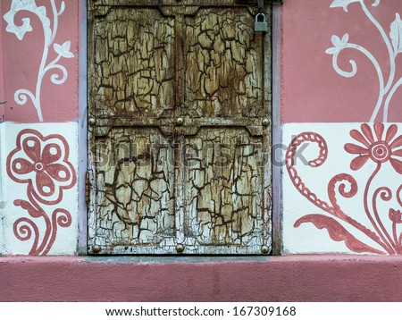 Colorful architectural detail in Arabian, Morocco / door detail - stock photo