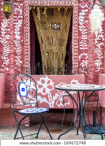 Colorful architectural style in Arabian, Morocco - stock photo