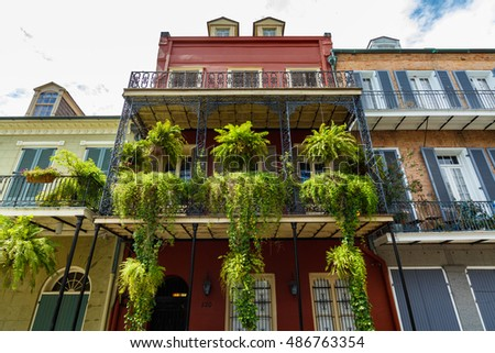Colorful architecture in the French Quarter in New Orleans, Louisiana.