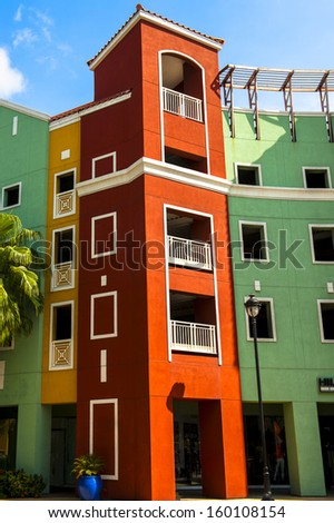 Colorful architecture in Willemstad - stock photo