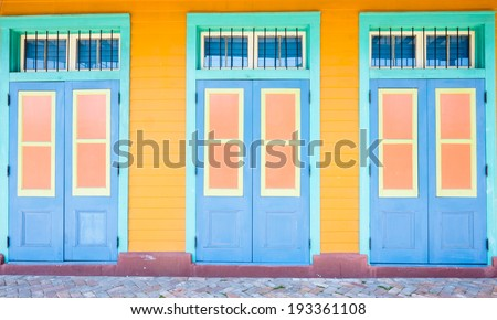 Colorful architecture of the French Quarter in New Orleans, Louisiana. - stock photo