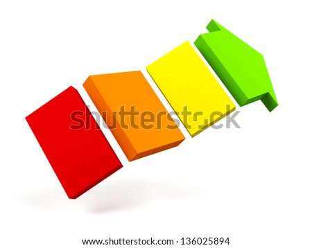 Colorful arrow on a white background. - stock photo