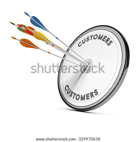Colorful arrows hitting the center of a target. Concept for illustration of business consulting and new customer acquisition strategy - stock photo