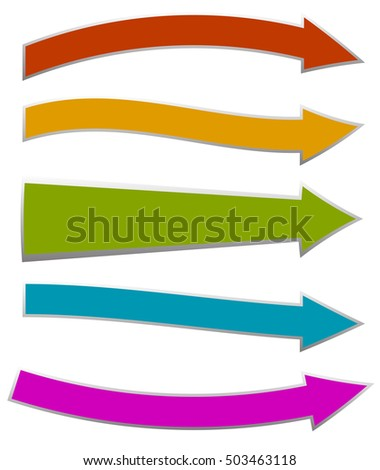 Colorful arrows pointing right. 5 shape and colors