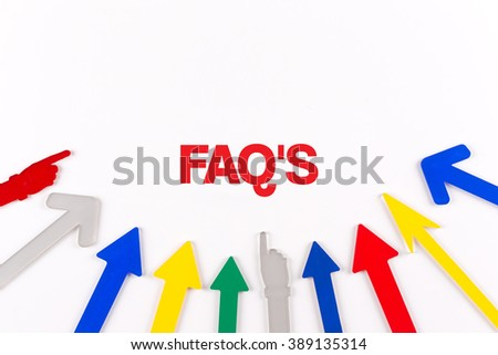 Colorful arrows showing to center with a word FAQ'S