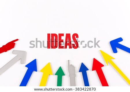 Colorful Arrows Showing to Center with a word IDEAS