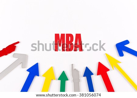 Colorful Arrows Showing to Center with a word MBA