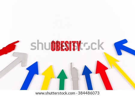 Colorful Arrows Showing to Center with a word OBESITY