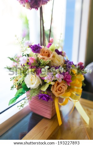 Colorful artificial flower decoration