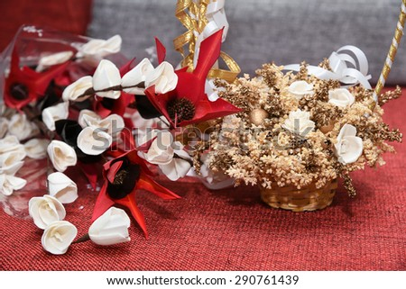 Colorful artificial flower made paper bamboo stock photo royalty colorful artificial flower made with paper and bamboo leavessket full dried flowers with white mightylinksfo