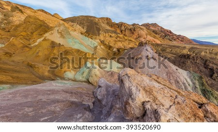 Colorful artist's drive in Death Valley. A part of one way scenic drive. The colors are created by different minerals. Artist's Drive, Death Valley National Park - stock photo