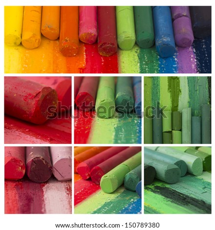 colorful artistic crayons collage - stock photo