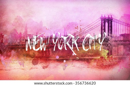 Colorful artistic pink and orange funky New York City panorama with the Brooklyn Bridge and white text - New York City - stock photo