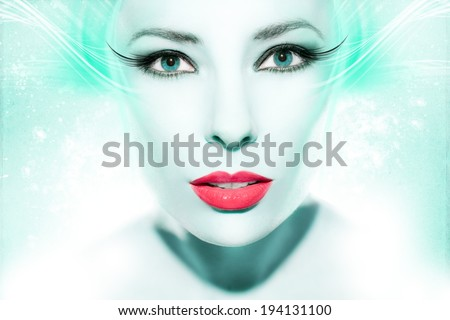 Colorful artwork with beautiful woman  - stock photo