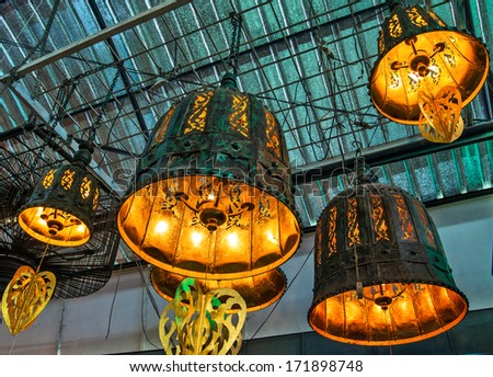 Colorful Asian lamps - stock photo