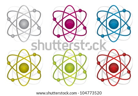 colorful atoms illustration design over white background - stock photo
