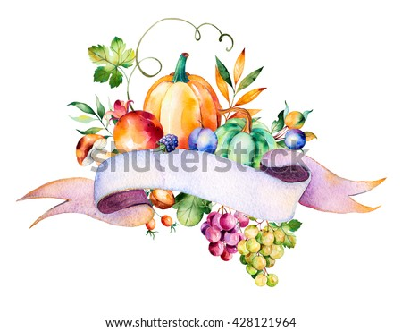 Colorful autumn bouquet with fall leaves,branches,berry,blackberry,mushroom,pumpkins,walnut,grapes vine,prunes,pomegranant,ribbon for your text and more.Autumn harvest bouquet for your unique design. - stock photo