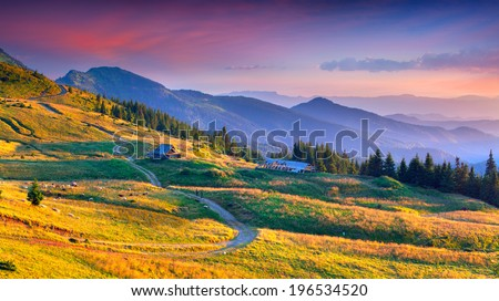 Colorful autumn landscape in mountain village. Sunset. Geolocation 47.944148,24.317679 - stock photo