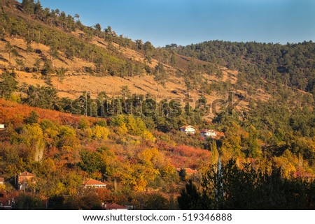 Colorful autumn landscape in the mountain village. Turkey.