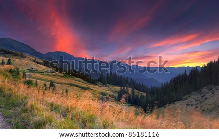 Colorful autumn landscape in the mountains. Sunset - stock photo