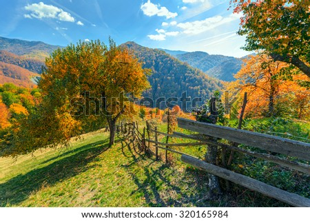 Colorful autumn landscape scene with fence in Transylvania mountain-Romania - stock photo