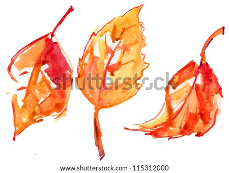 colorful autumn leaves  isolated on white background. watercolor illustration - stock photo