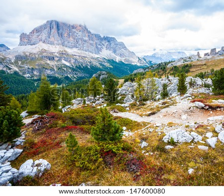 Colorful autumn nature in Dolomites - stock photo