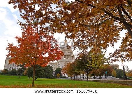 Colorful autumn on Capitol Hill, Washington DC - stock photo