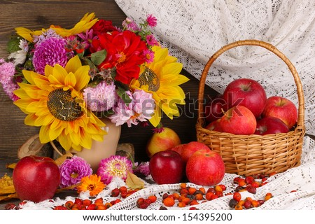 Colorful autumn still life with apples - stock photo