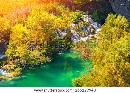 Colorful autumn sunrise in the Plitvice Lakes National Park. Croatia. Europe.  - stock photo