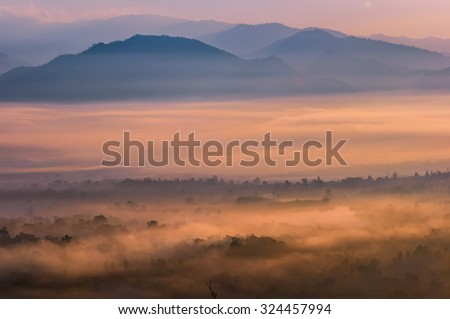 Colorful autumn sunrise over the Smoky Mountains - stock photo