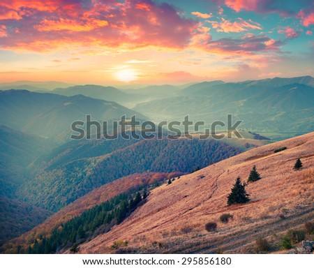 Colorful autumn sunset in Carpathian mountains. Krasna ridge, Ukraine, Europe. Instagram toning. - stock photo