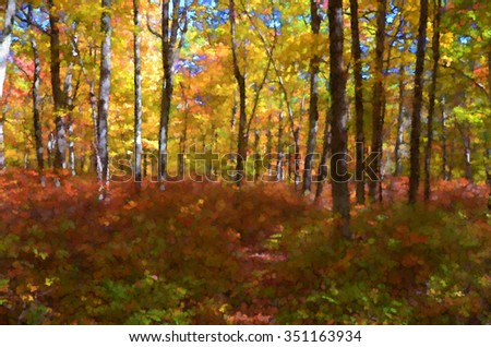 Colorful autumn trees in the Poconos of Pennsylvania transformed into a pointillism style painting - stock photo