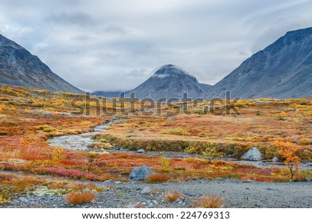 Colorful autumn tundra in front of Malaya Belaya river bend in Hibiny mountains above the Arctic Circle, Russia