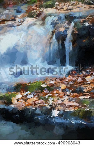 Colorful Autumn waterfall turned into a abstract painting