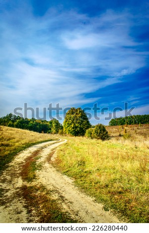 Colorful autumnal landscape,the magnificent scenery. - stock photo