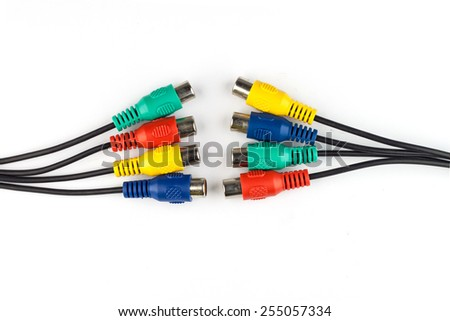 colorful av cables isolated on white background.