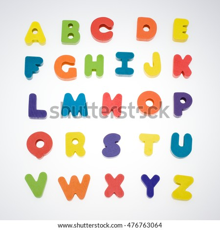 Colorful baby blocks set of capital letters alphabet.